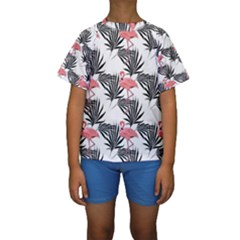 Flamingos Palmetto Fronds Tropical Pattern Kid s Short Sleeve Swimwear