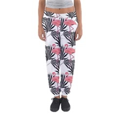 Flamingos Palmetto Fronds Tropical Pattern Women s Jogger Sweatpants