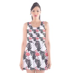 Flamingos Palmetto Fronds Tropical Pattern Scoop Neck Skater Dress