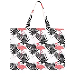 Flamingos Palmetto Fronds Tropical Pattern Large Tote Bag