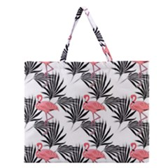 Flamingos Palmetto Fronds Tropical Pattern Zipper Large Tote Bag