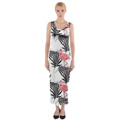 Flamingos Palmetto Fronds Tropical Pattern Fitted Maxi Dress