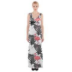 Flamingos Palmetto Fronds Tropical Pattern Maxi Thigh Split Dress