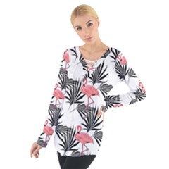 Flamingos Palmetto Fronds Tropical Pattern Women s Tie Up Tee