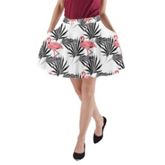 Flamingos Palmetto Fronds Tropical Pattern A Line Pocket Skirt