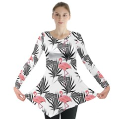 Flamingos Palmetto Fronds Tropical Pattern Long Sleeve Tunic