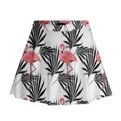 Flamingos Palmetto Fronds Tropical Pattern Mini Flare Skirt