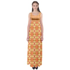 Peach Pineapple Abstract Circles Arches Empire Waist Maxi Dress