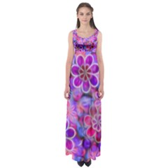 Pretty Floral Painting Empire Waist Maxi Dress