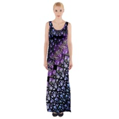 Dusk Blue and Purple Fractal Maxi Thigh Split Dress