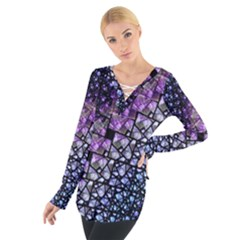 Dusk Blue and Purple Fractal Women s Tie Up Tee