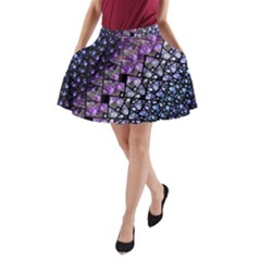 Dusk Blue and Purple Fractal A-Line Pocket Skirt