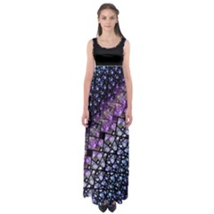 Dusk Blue and Purple Fractal Empire Waist Maxi Dress