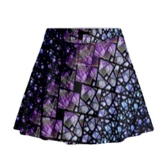 Dusk Blue And Purple Fractal Mini Flare Skirt