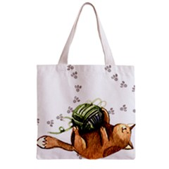 Lovely Cat Playing A Ball Of Wool Zipper Grocery Tote Bag