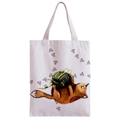 Lovely Cat Playing A Ball Of Wool Zipper Classic Tote Bag