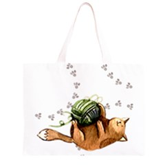 Lovely Cat Playing A Ball Of Wool Large Tote Bag