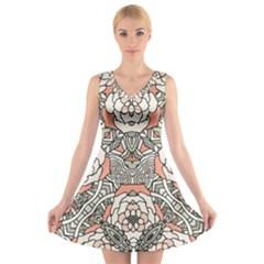 Petals, Vintage Pink, Bold Flower Design V-Neck Sleeveless Skater Dress