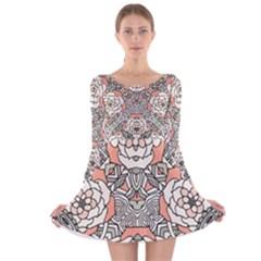 Petals, Vintage Pink, Bold Flower Design Long Sleeve Velvet Skater Dress