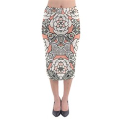 Petals, Vintage Pink, Bold Flower Design Midi Pencil Skirt