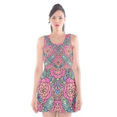 Petals, Carnival, Bold Flower Design Scoop Neck Skater Dress