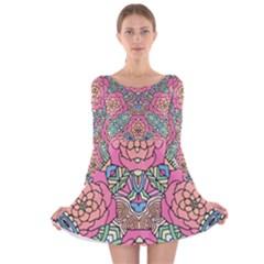 Petals, Carnival, Bold Flower Design Long Sleeve Velvet Skater Dress