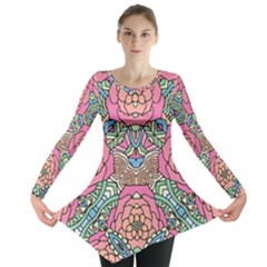 Petals, Carnival, Bold Flower Design Long Sleeve Tunic