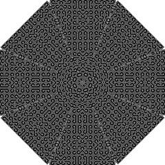 Black and White Ethnic Sharp Geometric  Hook Handle Umbrellas (Small)
