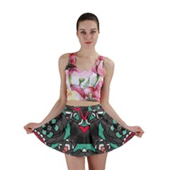 Petals, Dark & Pink, Bold Flower Design Mini Skirt