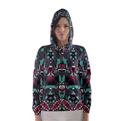 Petals, Dark & Pink, Bold Flower Design Hooded Wind Breaker (Women)