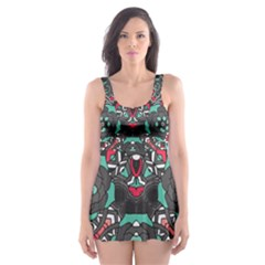 Petals, Dark & Pink, Bold Flower Design Skater Dress Swimsuit