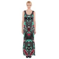 Petals, Dark & Pink, Bold Flower Design Maxi Thigh Split Dress