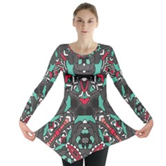 Petals, Dark & Pink, Bold Flower Design Long Sleeve Tunic