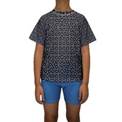 Black And White Ethnic Sharp Geometric  Print Kid s Short Sleeve Swimwear