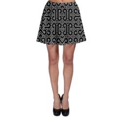 Black And White Ethnic Sharp Geometric  Print Skater Skirt