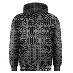 Black And White Ethnic Sharp Geometric  Print Men s Pullover Hoodie