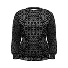 Black And White Ethnic Sharp Geometric  Print Women s Sweatshirt