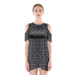 Black And White Ethnic Sharp Geometric  Print Cutout Shoulder Dress