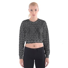 Black And White Ethnic Sharp Geometric  Print Women s Cropped Sweatshirt