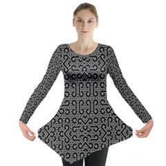 Black And White Ethnic Sharp Geometric  Print Long Sleeve Tunic