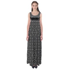 Black And White Ethnic Sharp Geometric  Print Empire Waist Maxi Dress