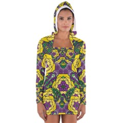 Petals, Mardi Gras, Bold Floral Design Women s Long Sleeve Hooded T-shirt