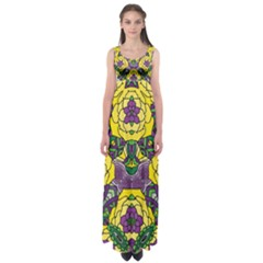 Petals, Mardi Gras, Bold Floral Design Empire Waist Maxi Dress