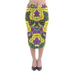 Petals, Mardi Gras, Bold Floral Design Midi Pencil Skirt