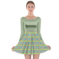 Abstract Rainbow Butterfly Vivid Colorful Cute Long Sleeve Skater Dress