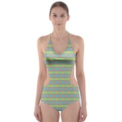 Abstract Rainbow Butterfly Vivid Colorful Cute Cut-Out One Piece Swimsuit