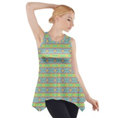 Abstract Rainbow Butterfly Vivid Colorful Cute Side Drop Tank Tunic