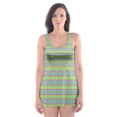 Abstract Rainbow Butterfly Vivid Colorful Cute Skater Dress Swimsuit