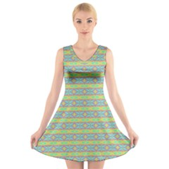 Abstract Rainbow Butterfly Vivid Colorful Cute V-Neck Sleeveless Skater Dress