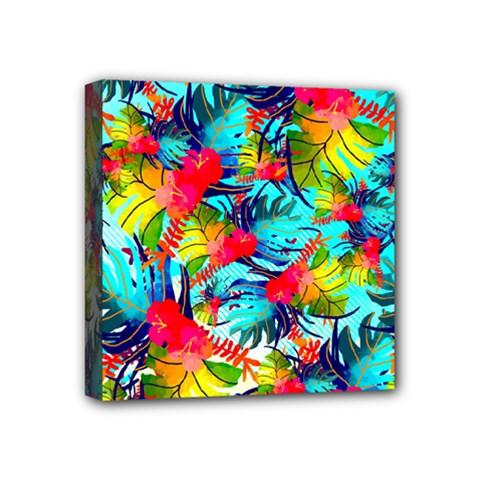 Watercolor Tropical Leaves Pattern Mini Canvas 4  x 4